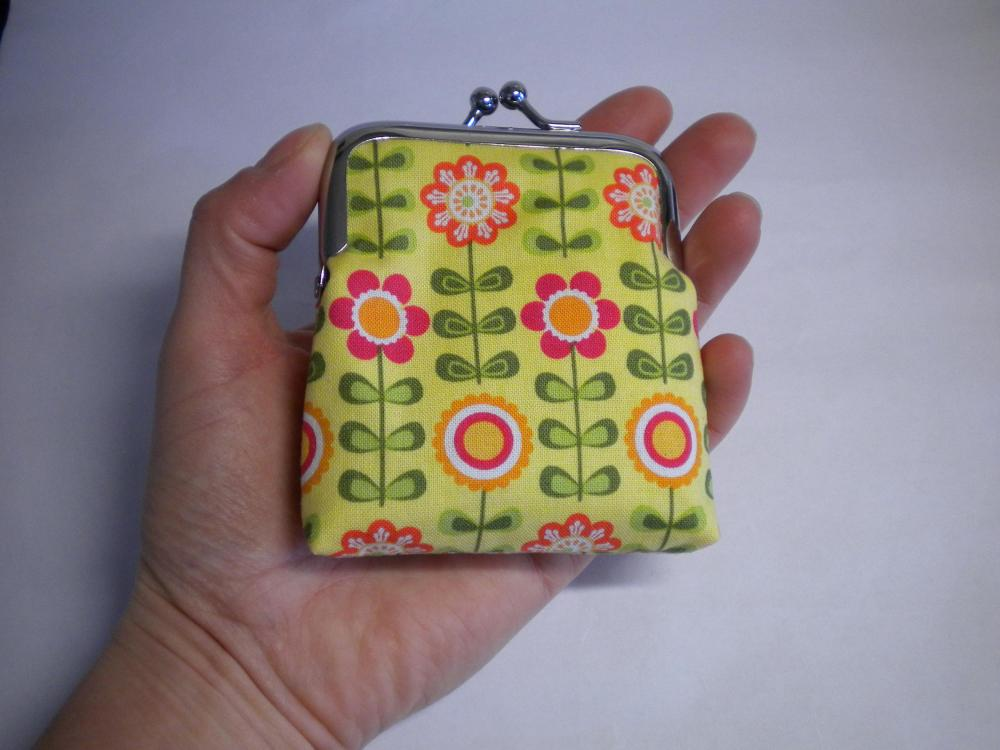 Kawaii Small frame coin purse - mini change pouch with yellow cute flower design